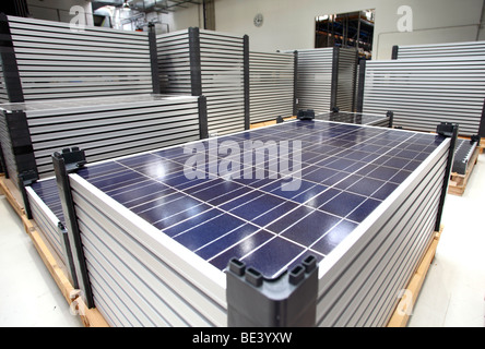 Solon SE: production of solar panels. New panels, ready for shipping, BERLIN, GERMANY - Stock Photo