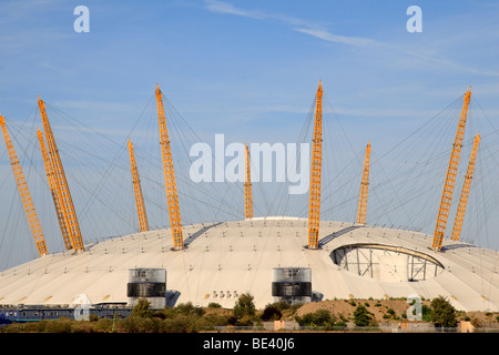 The O2 dome (formerly the Millenium Dome) in London Docklands, North Greenwich, UK.  As viewed from the Isle of - Stock Photo