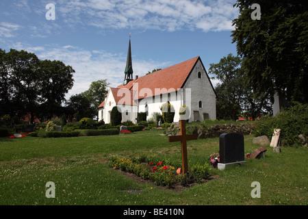 St. Wilhadi Church, ULSNIS, ANGELN, SCHLESWIG-HOLSTEIN, Germany - Stock Photo
