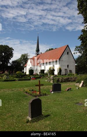 St. Wilhadi Church ULSNIS, ANGELN, SCHLESWIG-HOLSTEIN, GERMANY, EUROPE - Stock Photo