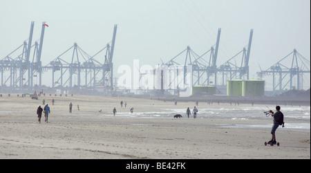 Man powerkiting sailing parasailing at sand beach Hoek van Holland Netherlands Europoort Rotterdam harbour cranes - Stock Photo