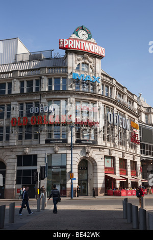 Corporation Street, Manchester, England, UK, Europe. The Printworks building and clock in the city centre - Stock Photo