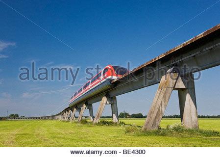 Transrapid TR09 monorail train maglev magnetic levitation test run transport high tech technology future Lathen - Stock Photo