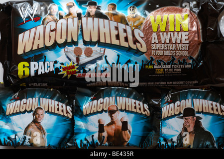 packets of Wagon Wheels biscuits - jammie flavour - Stock Photo