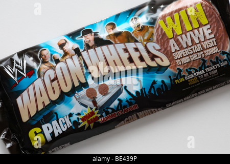 Wagon Wheels biscuits - Jammie Flavour 6 pack set on white background - Stock Photo