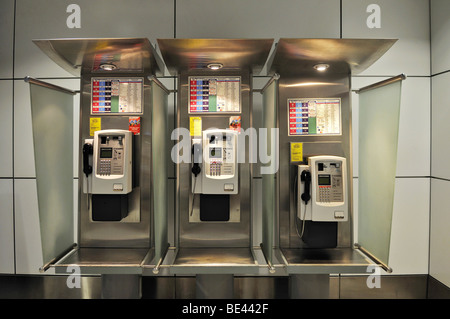 Three telephones, Airport, Denpasar, Bali, Indonesia, Southeast Asia - Stock Photo