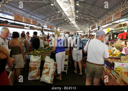 stalls inside the provencal food market on cours massena antibes south of france - Stock Photo