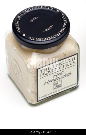 Screw top jar of 'The English Provender' hot Horseradish sauce - Stock Photo