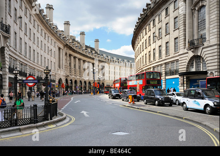 View from Piccadilly Circus into the curving Regent Street, London, England, United Kingdom, Europe - Stock Photo