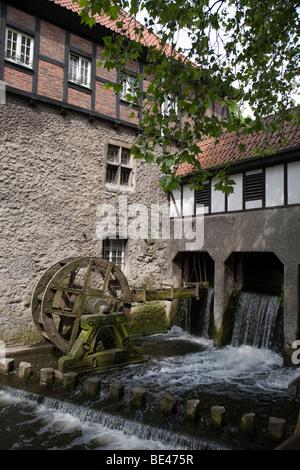 Water mill at the Stever river in Luedinghausen, Muensterland region, North Rhine-Westphalia, Germany, Europe