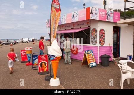 An ice cream stall & cafe on the beach in Hunstanton , North Norfolk , Uk - Stock Photo