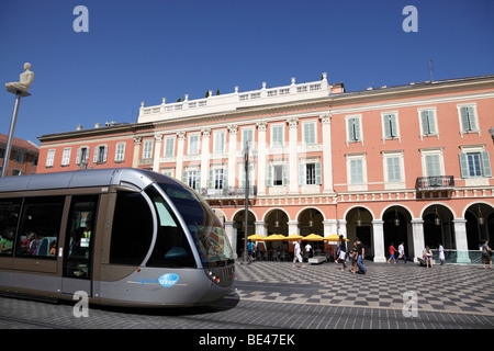 modern trams which started service in november 2007 at place massena the main square of the city nice south of france - Stock Photo