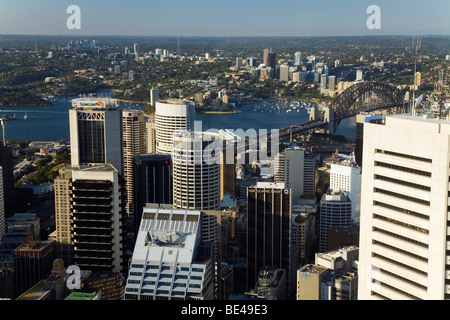 View of the city and harbour from the observation deck of the 250 metre high Sydney Tower. Sydney, New South Wales, - Stock Photo