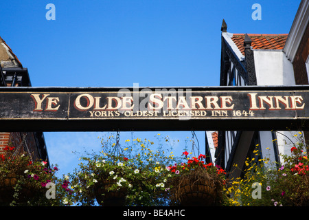 Ye Olde Starre Inne Sign over Stonegate York Yorkshire England - Stock Photo