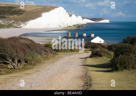 The 'Seven Sisters' seen from 'Seaford Head', Sussex, England, UK. - Stock Photo