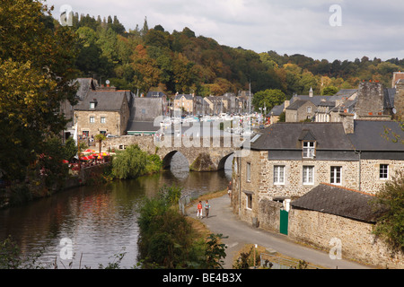 Scenic view of the river Rance in old Dinan France - Stock Photo