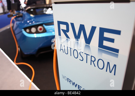 63th International Motor Show ( IAA ): A car of the manufacturer Tesla is being loaded with electric power by RWE - Stock Photo