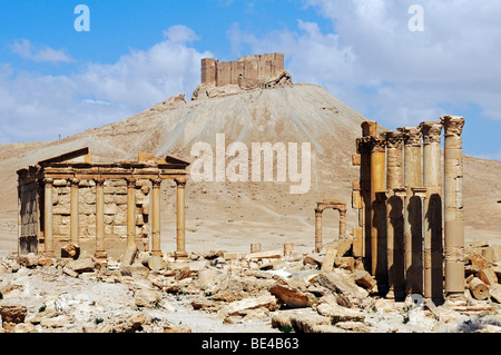 Ruins in the Palmyra archeological site, in the back castle Qala'at Ibn Ma'n, Tadmur, Syria, Asia - Stock Photo