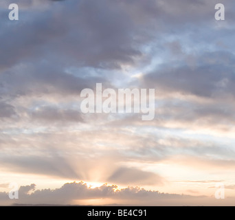 Sunrise/sunset sky with clouds and sun rays/beams - Stock Photo