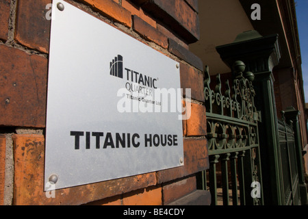 Titanic House sign on former Drawing Offices, Harland and Wolff - Stock Photo
