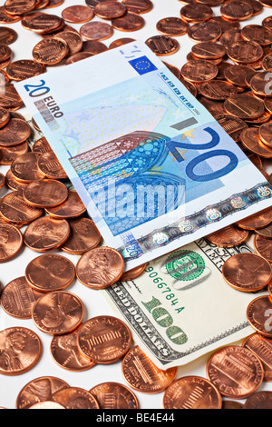 20 Euro on American pennies - Stock Photo