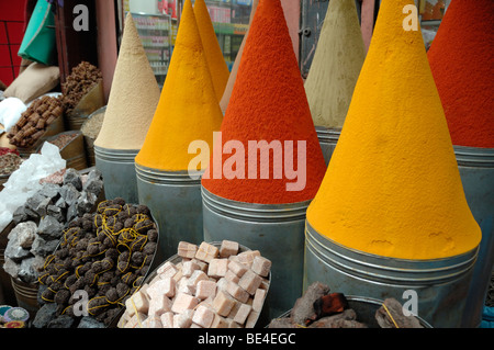 Powder Cones of Herbs and Spices on Display at a Herbalist Stall in the Souk, Bazaar or Market, Marrakesh, Morocco - Stock Photo