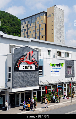 Shopping center and pre-fabricated concrete building of the GDR, Suhl, Thuringia, Germany, Europe - Stock Photo