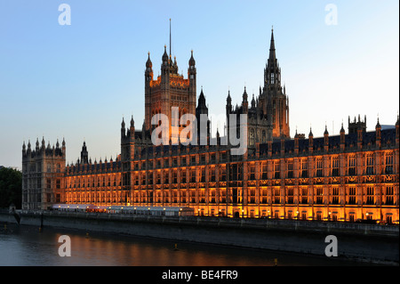 Palace of Westminster or Houses of Parliament at dusk, London, England, United Kingdom, Europe - Stock Photo