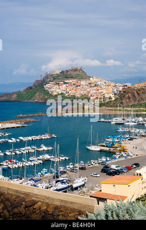 View from the port on Castelsardo, Sardinia, Italy, Europe - Stock Photo