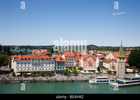 Lindau, Bavaria, Germany. Aerial view across the harbour to Mangturm and picturesque waterfront on Lake Constance - Stock Photo