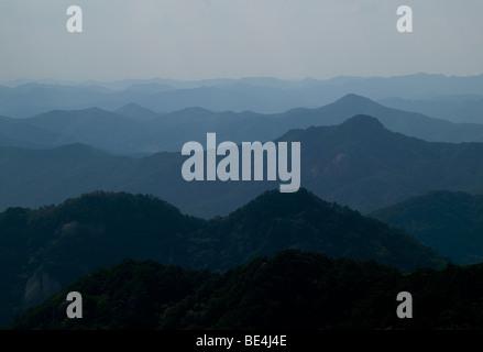 Republic of Korea, Chungcheongbuk-Do, Songnisan National Park, mountain panorama - Stock Photo