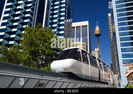 Monorail at Darling Harbour with the city skyline in the background. Sydney, New South Wales, AUSTRALIA - Stock Photo