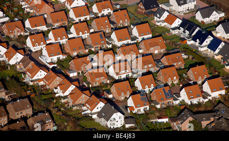 Aerial photo, newly developed arera, single-family homes, Castrop-Rauxel, Ruhrgebiet, North Rhine-Westphalia, Germany, - Stock Photo