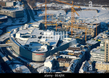 Aerial photo, Limbecker Platz, Limbecker Square, ECE, shopping center, snow, Berliner Platz, Berliner Square, Essen, - Stock Photo
