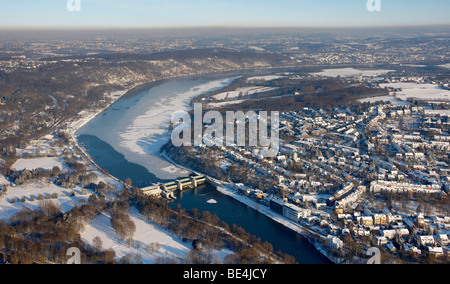 Aerial photo, ETUF hill, Baldeneysee, Baldeney Lake half frozen, weir, Essen, Ruhrgebiet, North Rhine-Westphalia, - Stock Photo