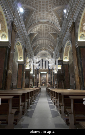 Rieti, Italy. Indoor view of the Duomo (Cathedral). - Stock Photo