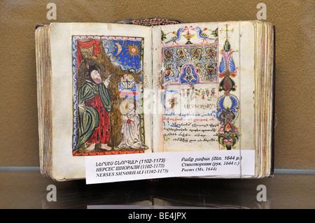 Historic handpainted Armenian manuscript, book page, Matenadaran Museum, Yerevan, Jerewan, Armenia, Asia - Stock Photo