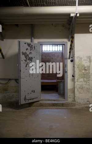 Prison cell, Berlin-Hohenschoenhausen memorial, former prison of the GDR's secret service, Berlin, Germany, Europe - Stock Photo