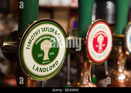 UK, England, Yorkshire, Haworth, Timothy Taylors Landlord beer hand pump clip - Stock Photo