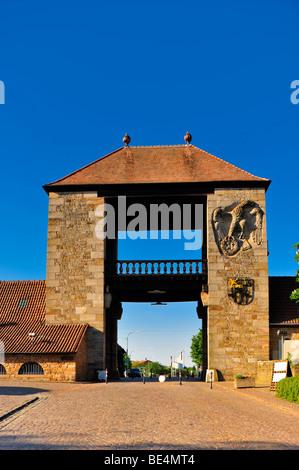 Deutsches Weintor, German wine gate, Schweigen-Rechtenbach, Naturpark Pfaelzerwald nature reserve, Palatinate, Rhineland - Stock Photo