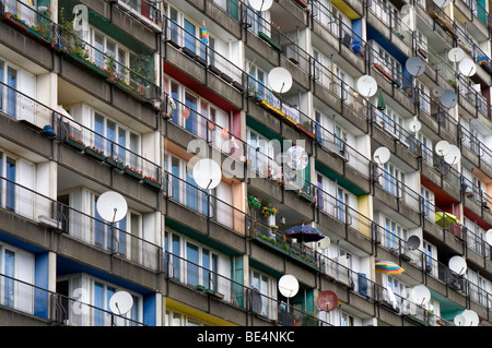 High-rise apartment building with satellite dishes in Schoeneberg, Berlin, Germany, Europe - Stock Photo