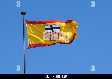 Fluttering flag of the city of Bonn, North Rhine-Westphalia, Germany, Europe - Stock Photo