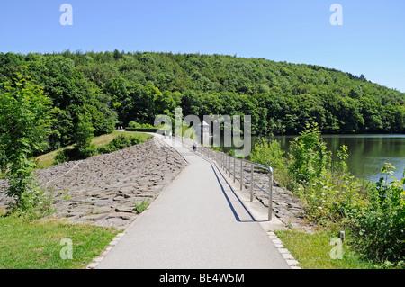 Dam, Seilersee lake, Callerbachtalsperre reservoir, storage lake, Iserlohn, Sauerland area, North Rhine-Westphalia, - Stock Photo