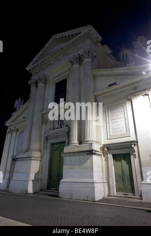 Rome, Italy. Night view of the church San Rocco in via di Ripetta. - Stock Photo