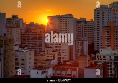 Twilight in the city of Sao Paulo Brazil