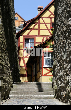 Detail of a half-timbered house, Meersburg, Lake Constance, Baden-Wuerttemberg, Germany, Europe - Stock Photo