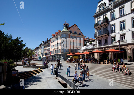 Tourists sitting in a pavement cafe at the Marktstrasse street, Konstanz, Lake Constance, Baden-Wuerttemberg, Germany, - Stock Photo
