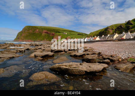 Crovie fishing village on the northern coast of Scotland, Great Britain, Europe - Stock Photo
