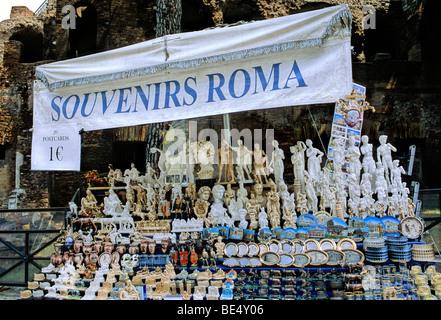 Souvenir stand, Rome, Lazio, Italy, Europe - Stock Photo