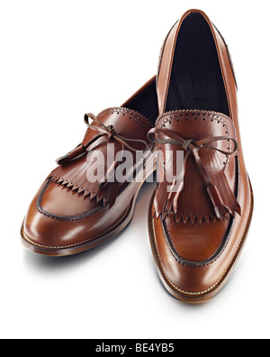 Mens brown leather golf style shoe - Stock Photo